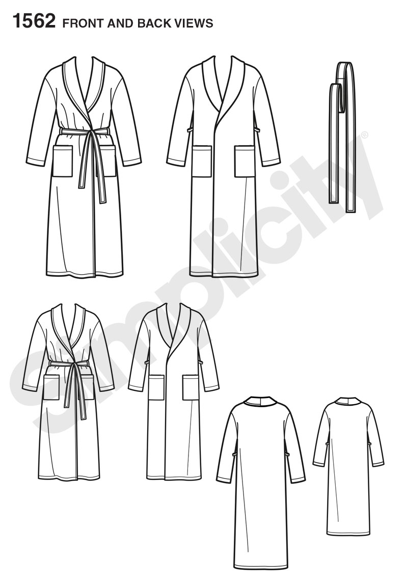 Simplicity 1562 childs teens and adults robe and belt prevnext jeuxipadfo Gallery