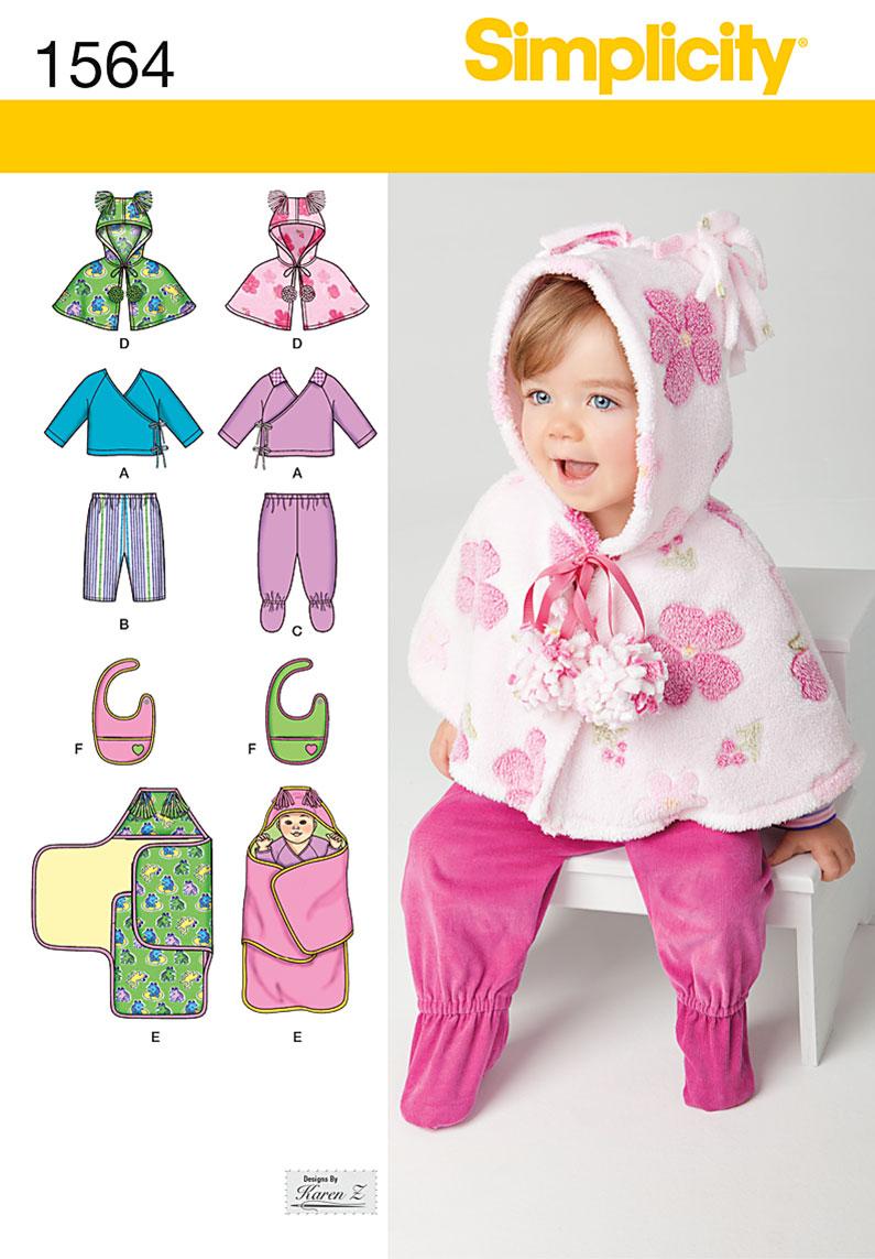Simplicity 1564 Babies Top Pants Bib And Blanket Wrap