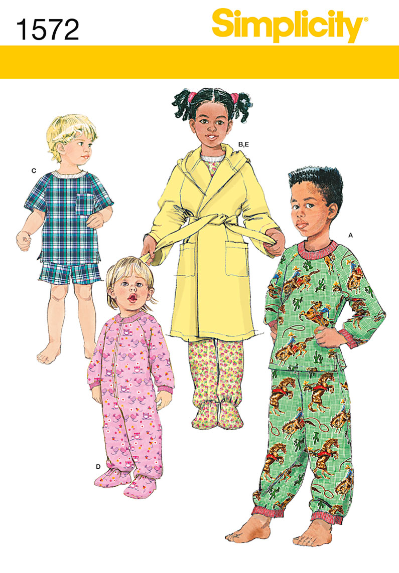 Simplicity 1572 Toddlers' and Child's Sleepwear and Robe