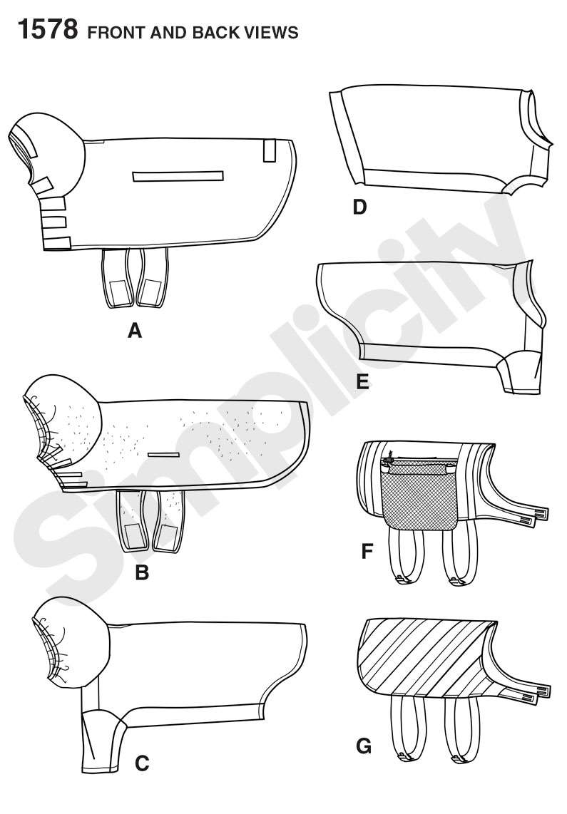 Simplicity 1578 large size dog clothes for Dog coat template