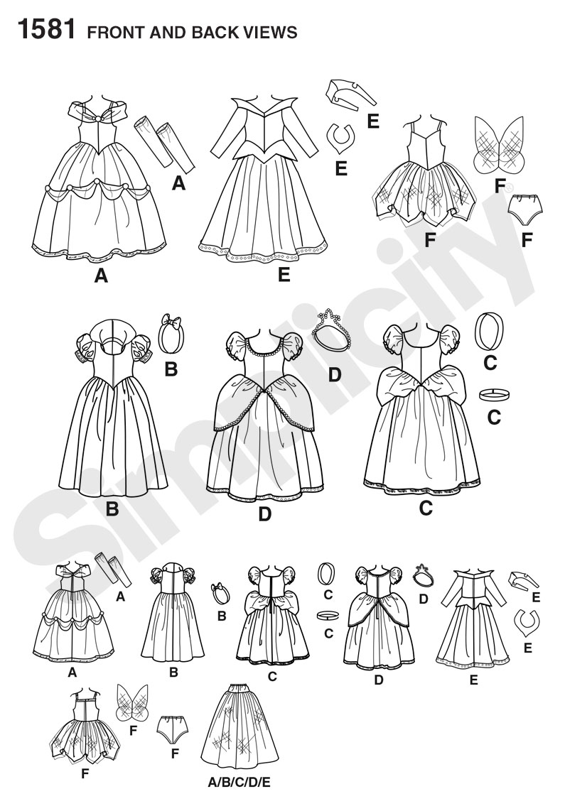 """18/"""" Doll Costumes Simplicity Fabric material Sewing Pattern # 1581"""