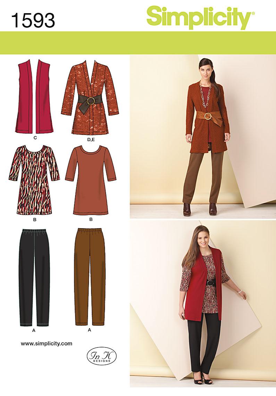 Simplicity 1593 Misses Vest, Dress, Pants and Belt