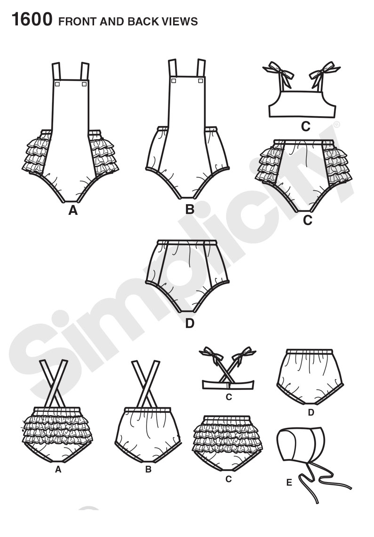 Simplicity 1600 baby romper bikini panties and bonnet prevnext jeuxipadfo Gallery