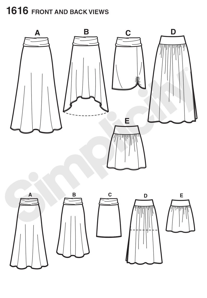 Simplicity 1616 Misses Skirts