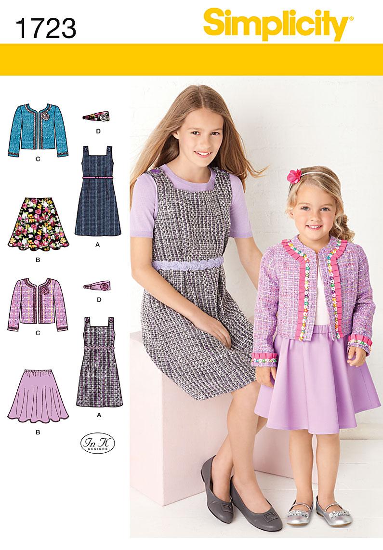 Simplicity 1723 Children's dress, skirt jacket and headband