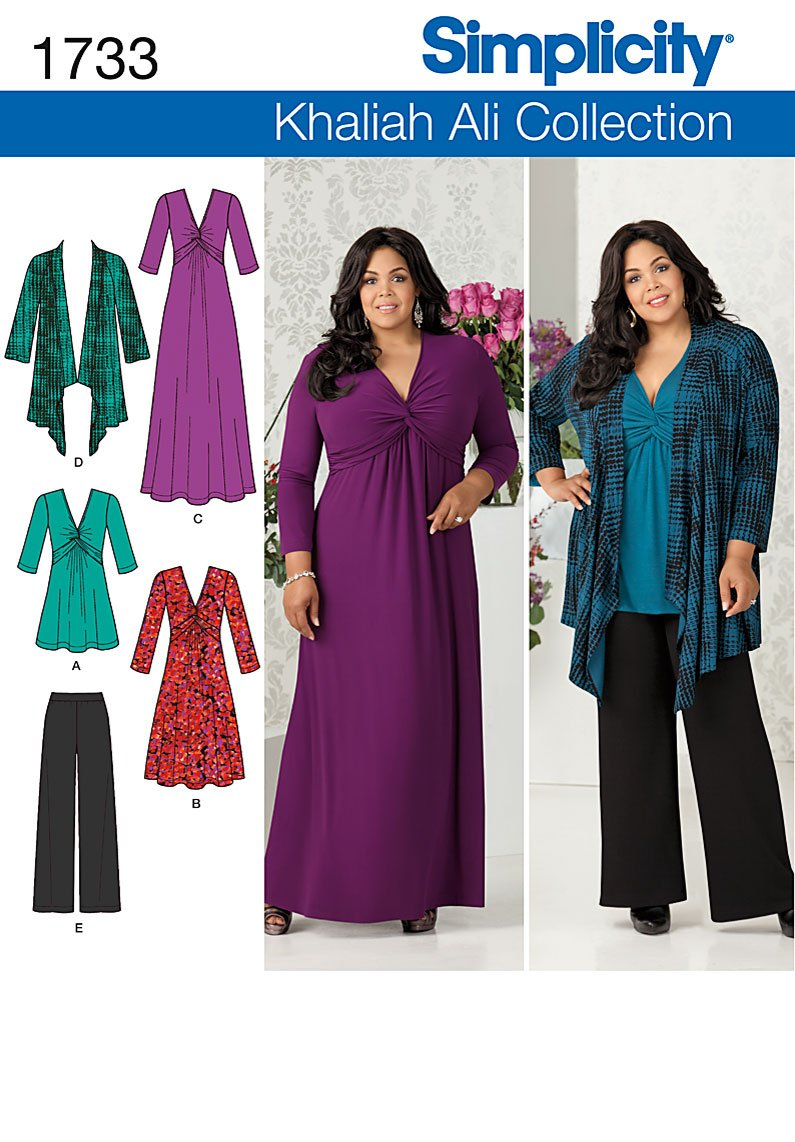 simplicity 1733 misses and plus dress, tunic, cardigan and pants