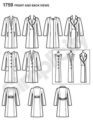 Simplicity 1759 Misses\' Coat