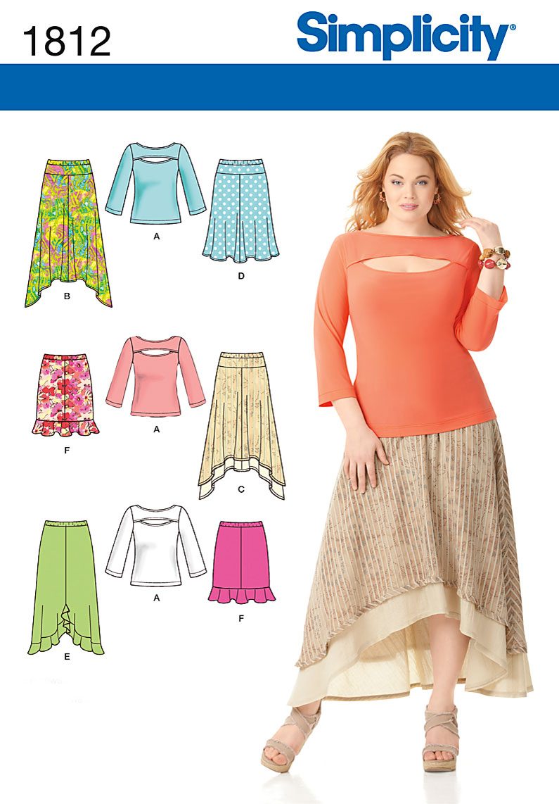 Simplicity 1812 Misses\' & Plus Size Skirts and Knit Top