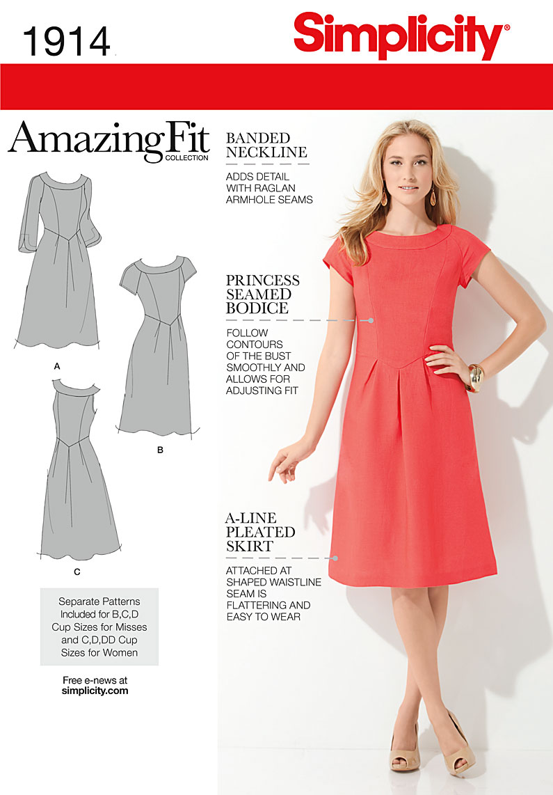Simplicity 1914 Misses\' & Plus Size Amazing Fit Dresses