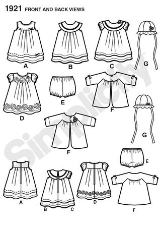 Simplicity 1921 Babies\' Dress & Separates