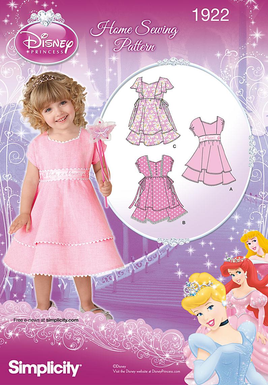 Simplicity 1922 Toddler's Dresses Disney Princess