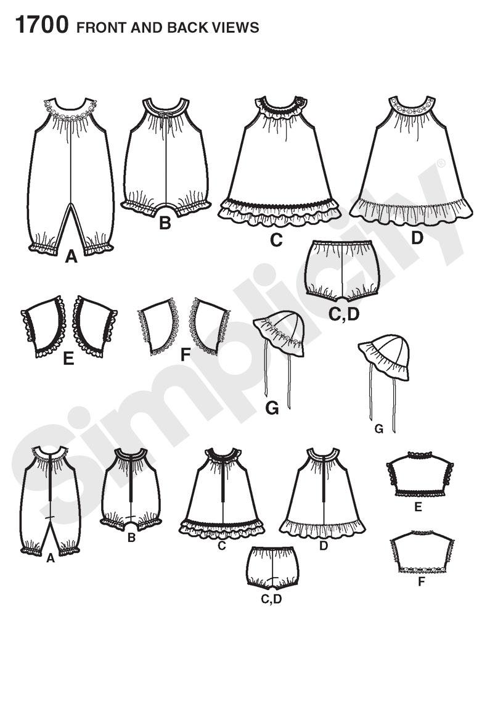 Simplicity 1700 Babies Dress And Separates