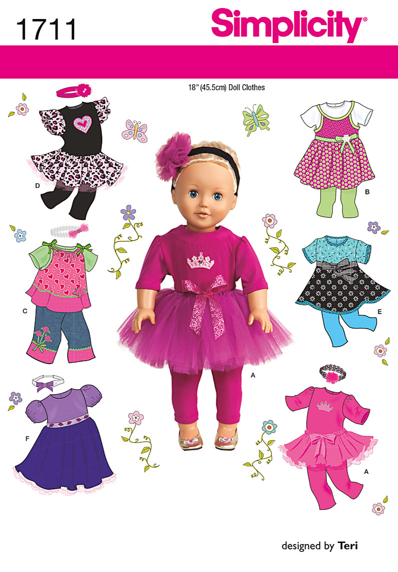 Simplicity 1711 18 Doll Clothes