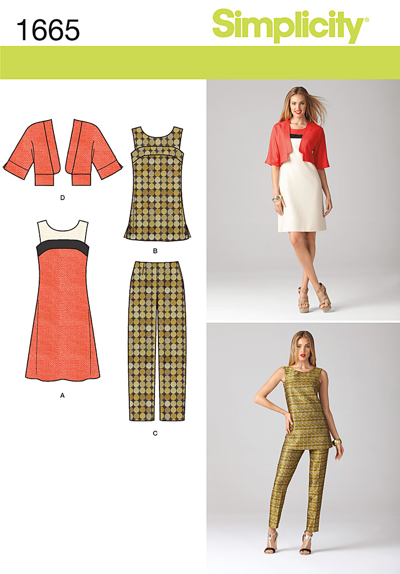 Simplicity 1665 Misses Dress Tunic Jacket And Pants