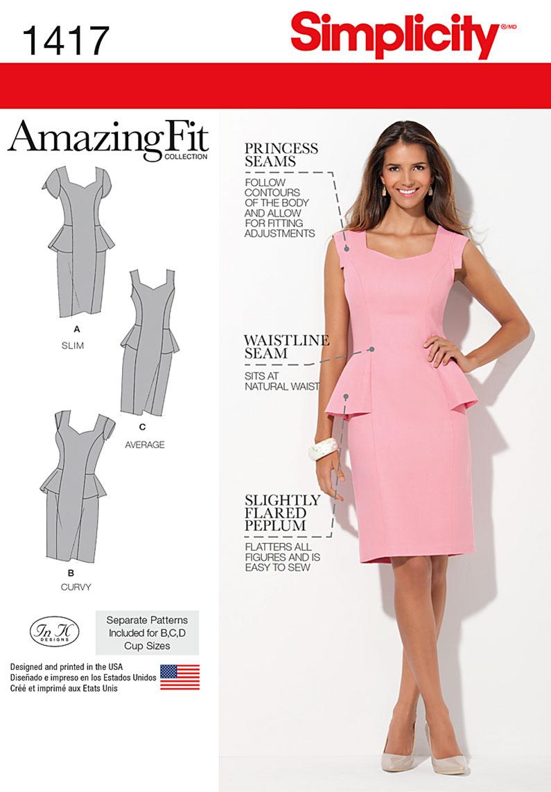 Simplicity 1417 Misses\' and Women\'s Amazing Fit Peplum Dress