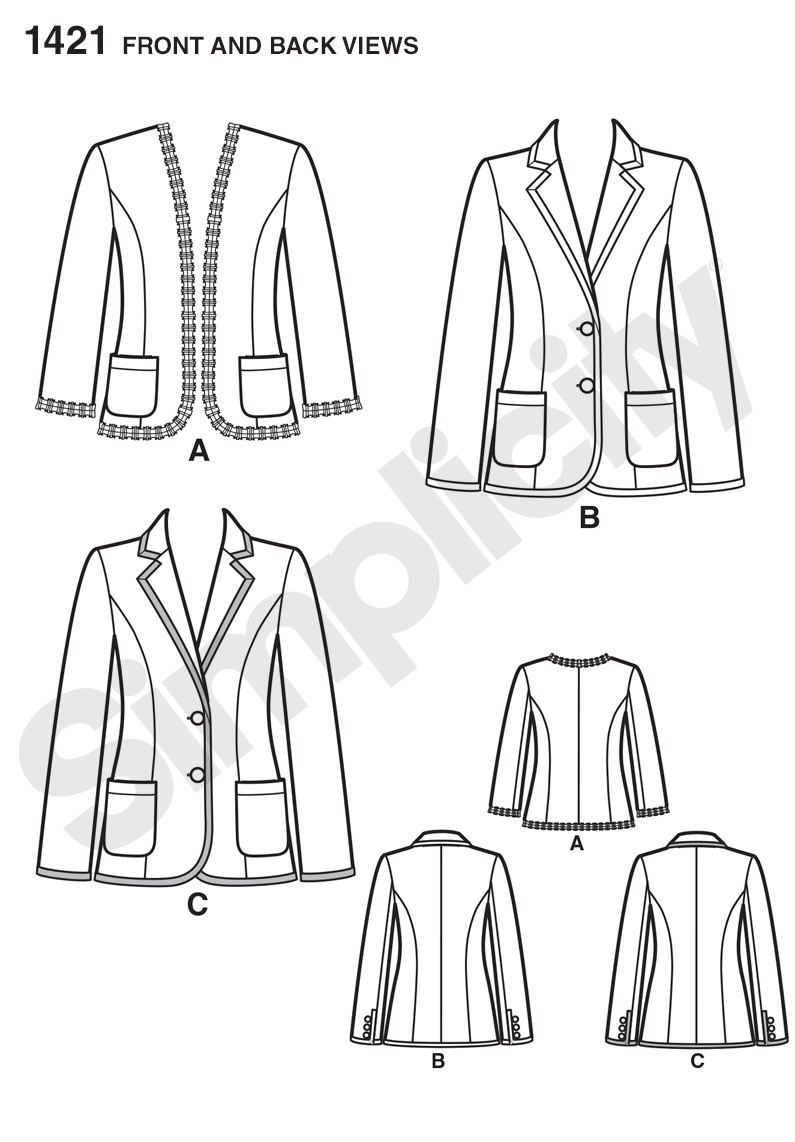 Simplicity 1421 Misses\' Unlined Jacket with Collar and Finishing ...