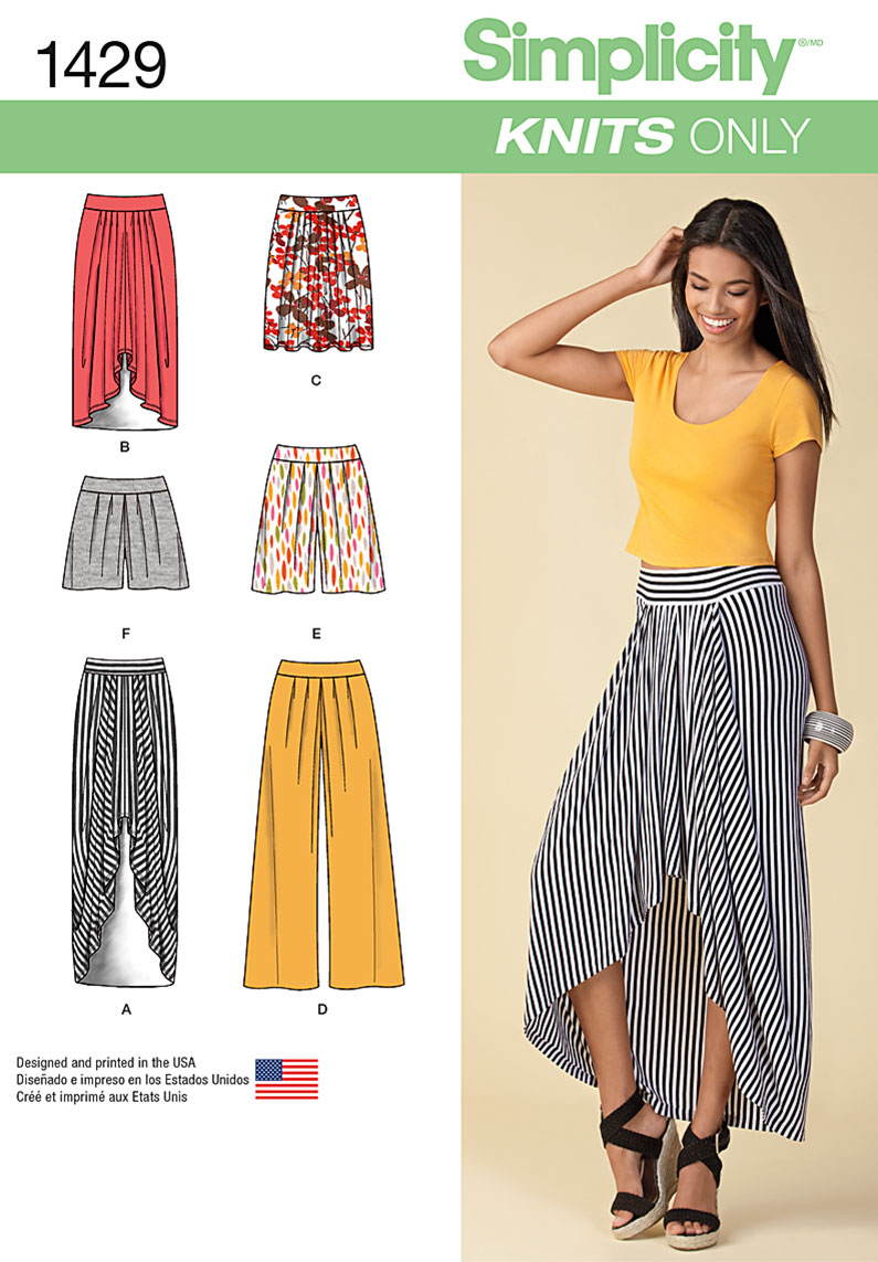 Simplicity 1429 Misses\' Pull on Knit Skirt, Pants & Shorts