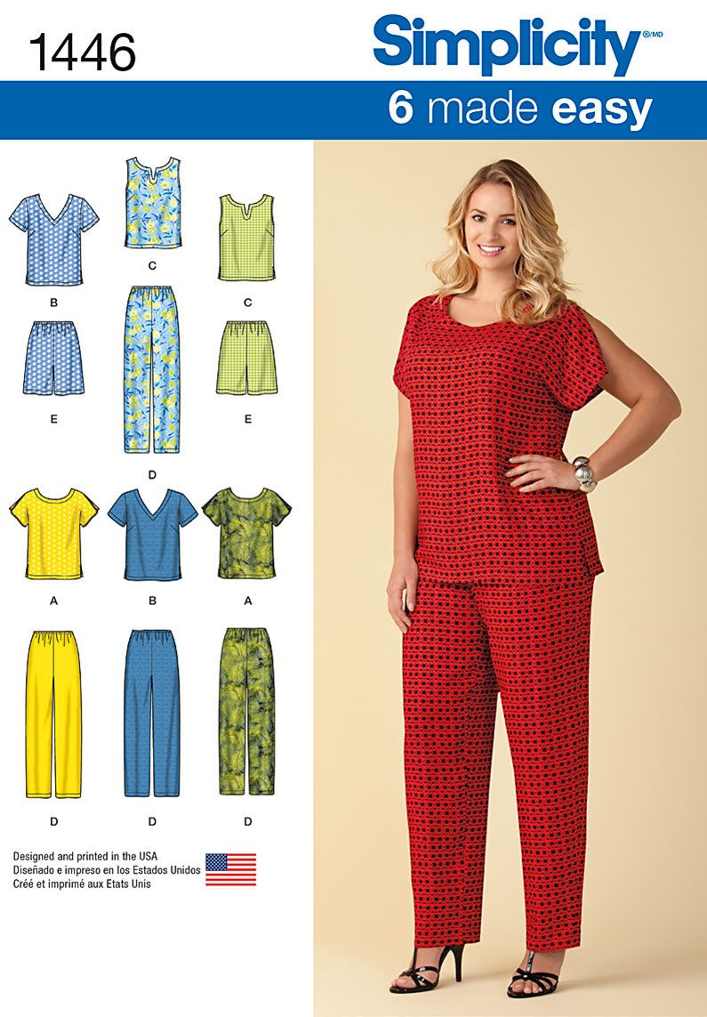 Simplicity 1446 Six Made Easy Pull On Tops And Pants Or Shorts For Plus Size,Fall Maxi Dresses For Wedding Guest