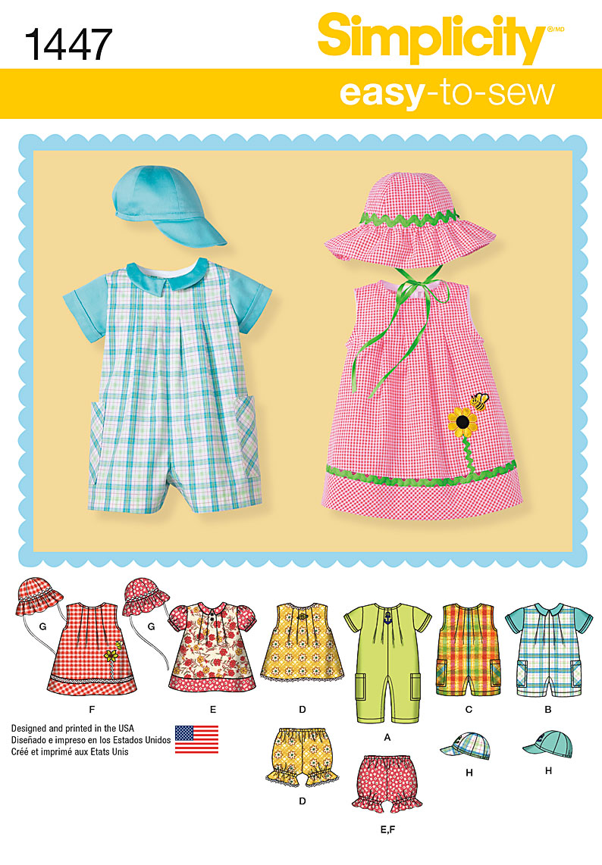 Simplicity 1447 Babies Romper Dress Top Panties And Hats