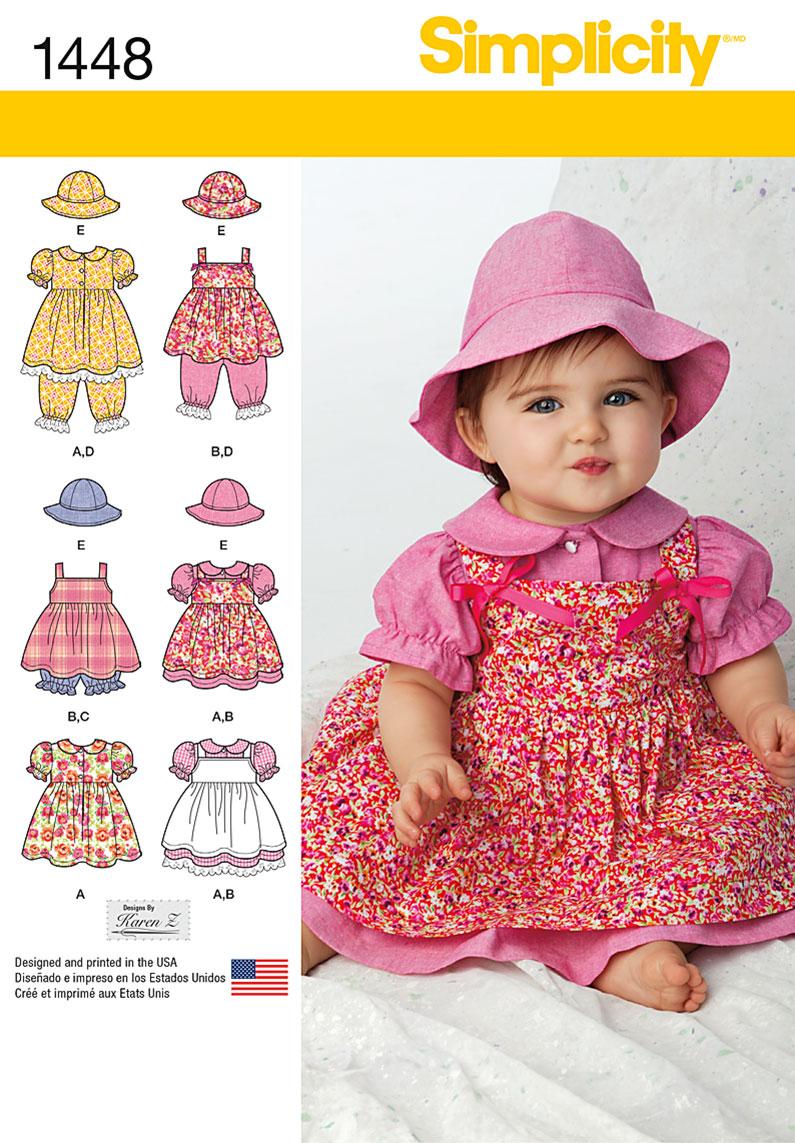 Simplicity 1448 Babies' Dress, Pinafore, Panties, Pantaloons and Hats