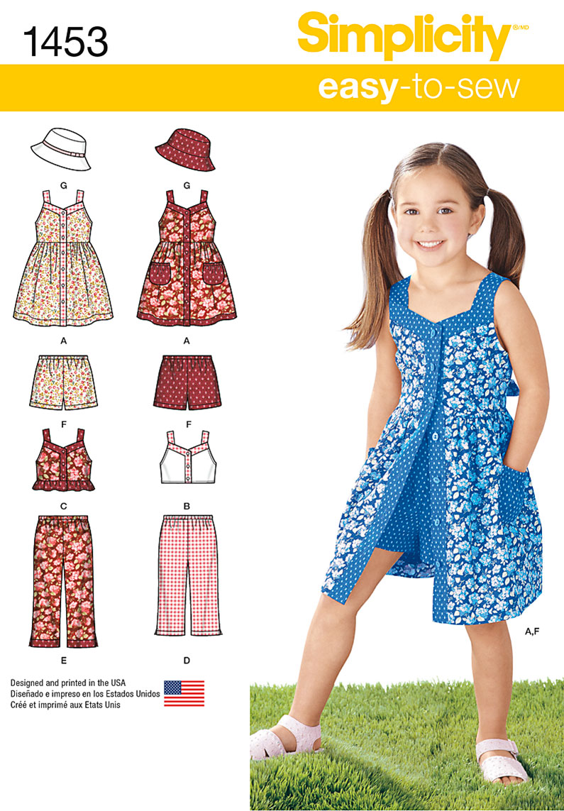 Simplicity 1453 Child S Dress Top Pants Or Shorts And Hat