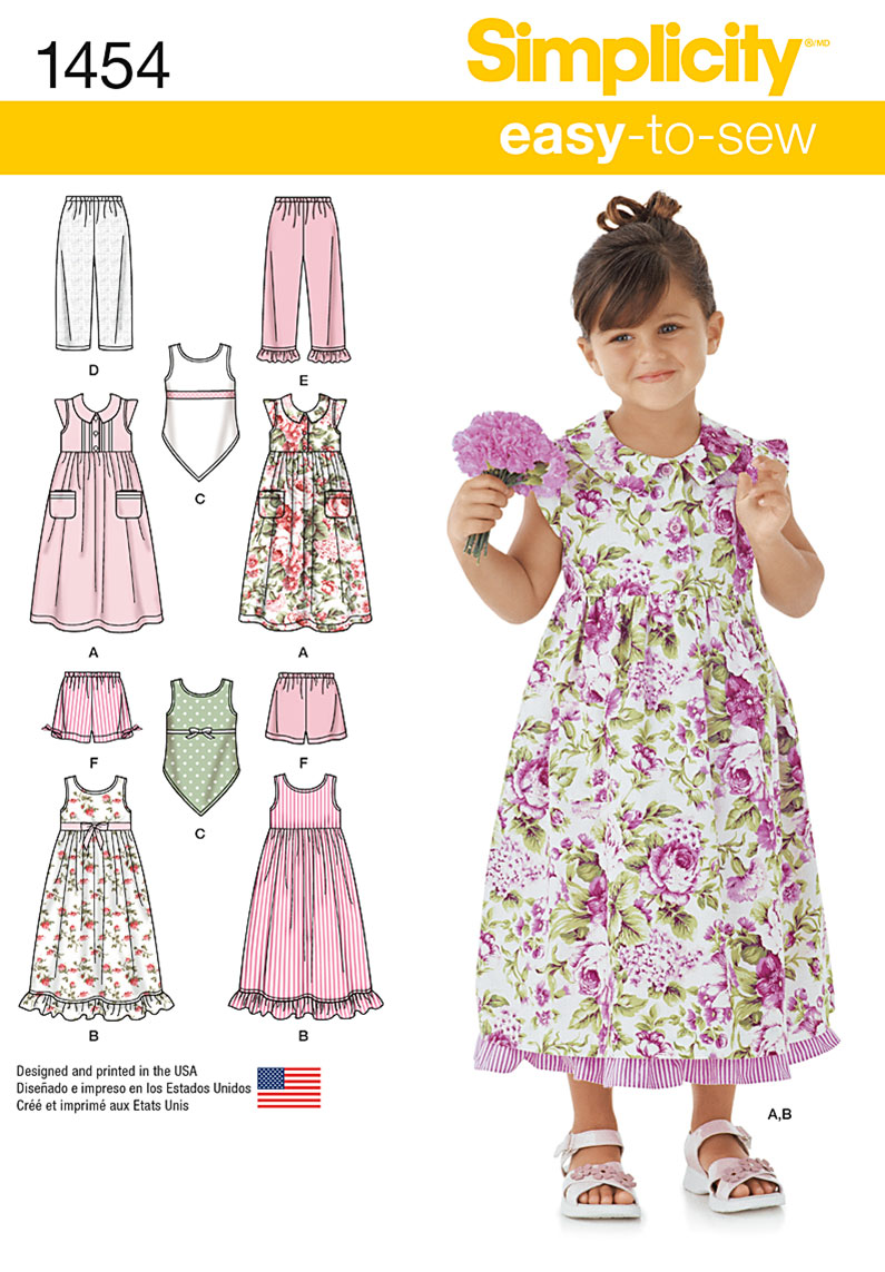 Simplicity 1454 Child S Dress Slip Dress Or Top And Pants Or Shorts