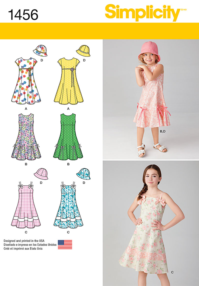 Simplicity 1456 Child\'s and Girls\' Dress with Bodice Variations and Hat