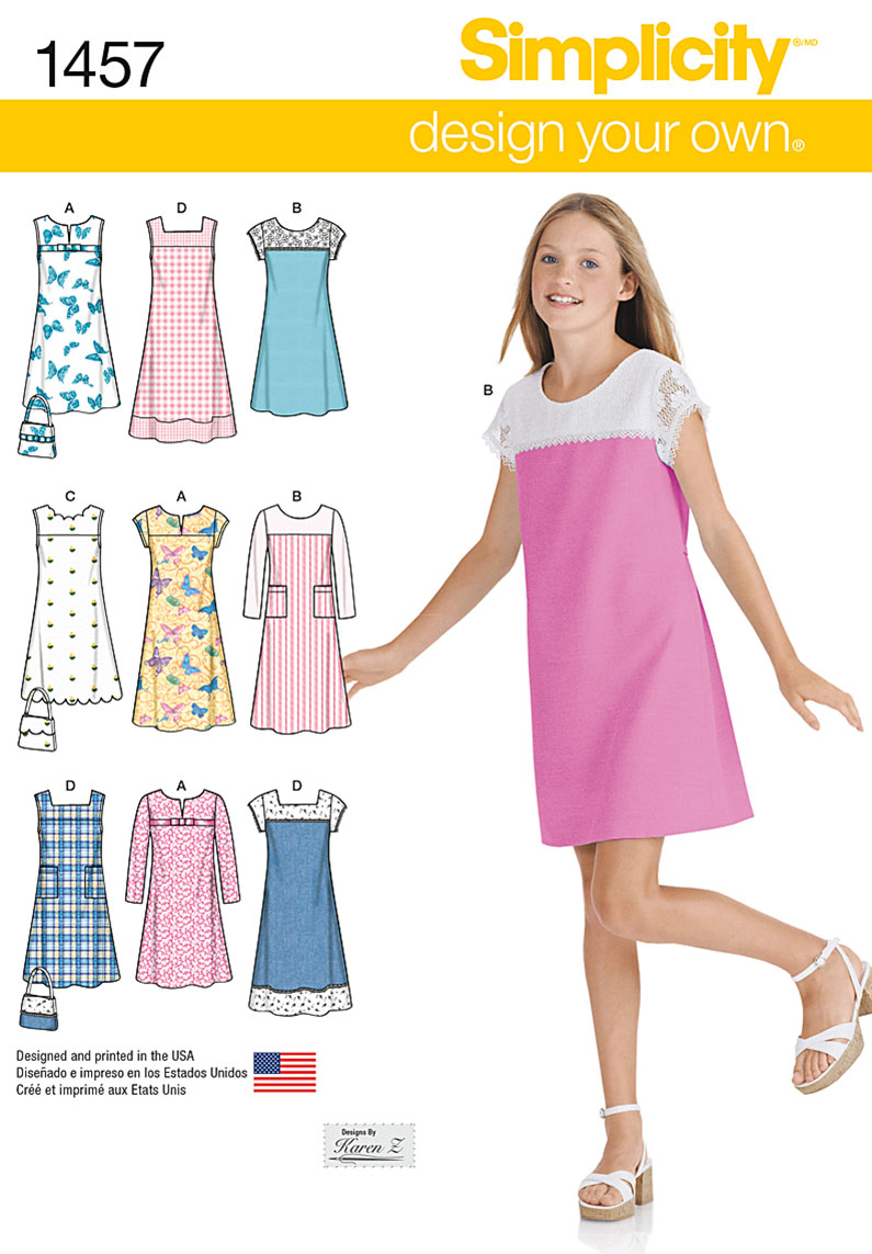 Simplicity 1457 Girls\'/Girls\' Plus Pullover Jumper or Dress in Two ...