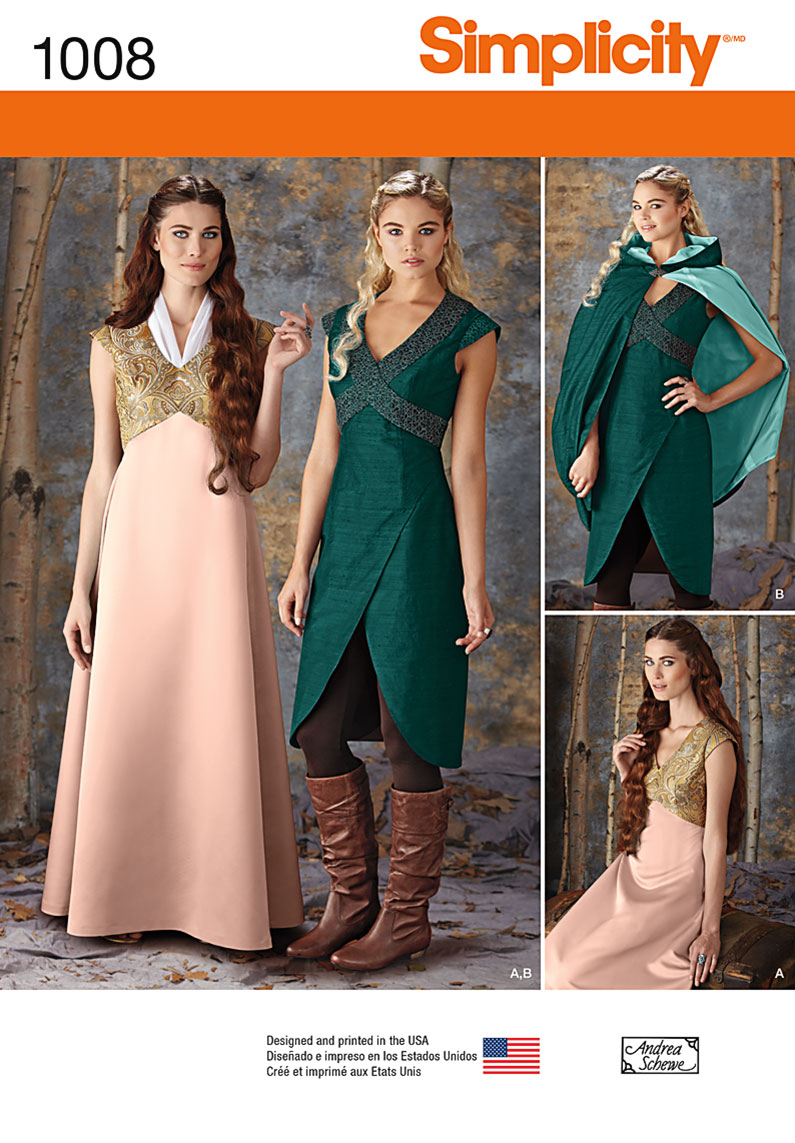 New Daenerys Simplicity Game Of Thrones Sewing Pattern 1008 Dress