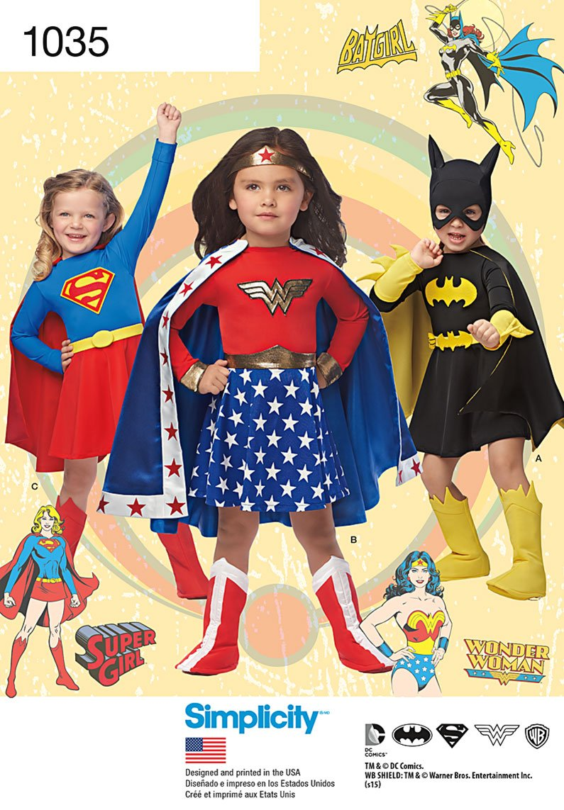 Simplicity 1035 Child's Wonder Woman, Supergirl & Batgirl Costumes