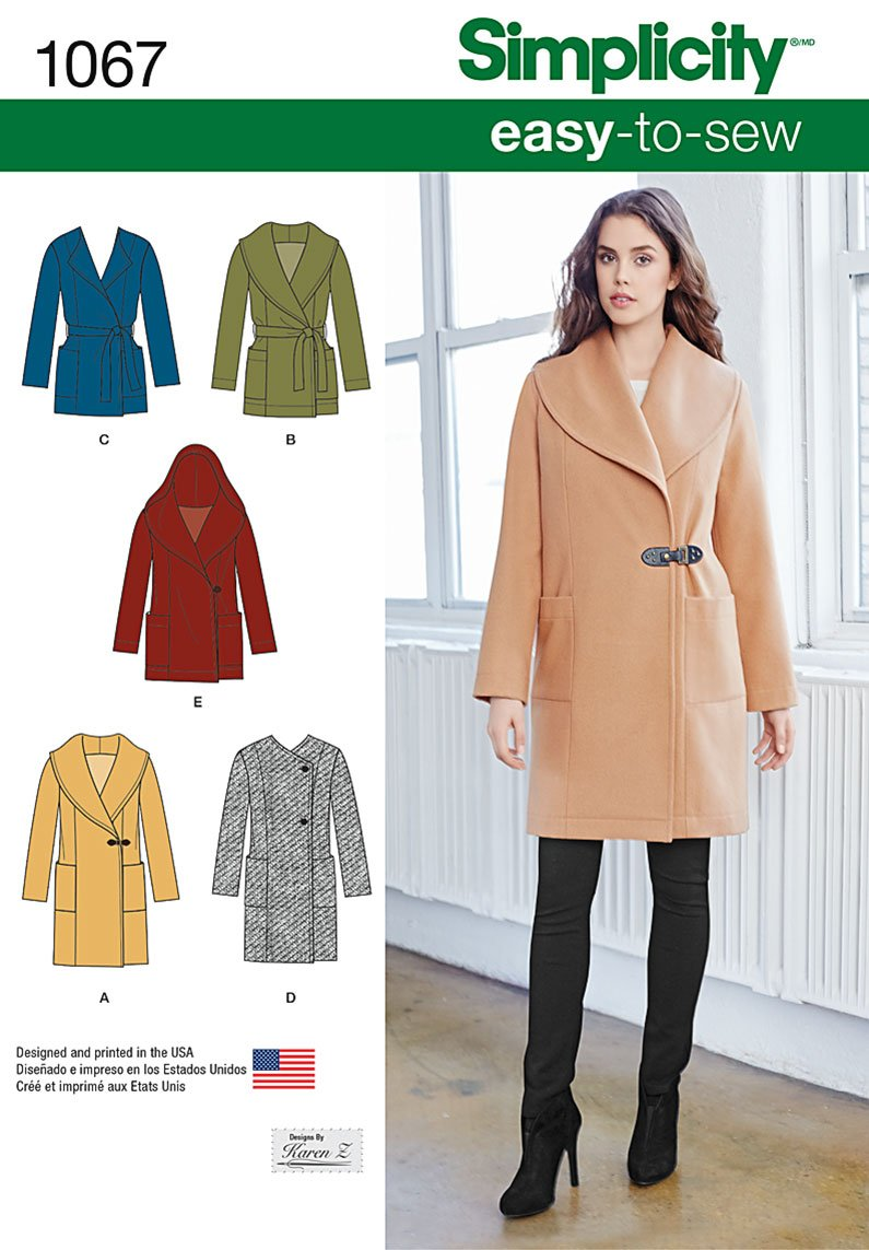 Simplicity 1067 Misses' Easy-To-Sew Jacket or Coat
