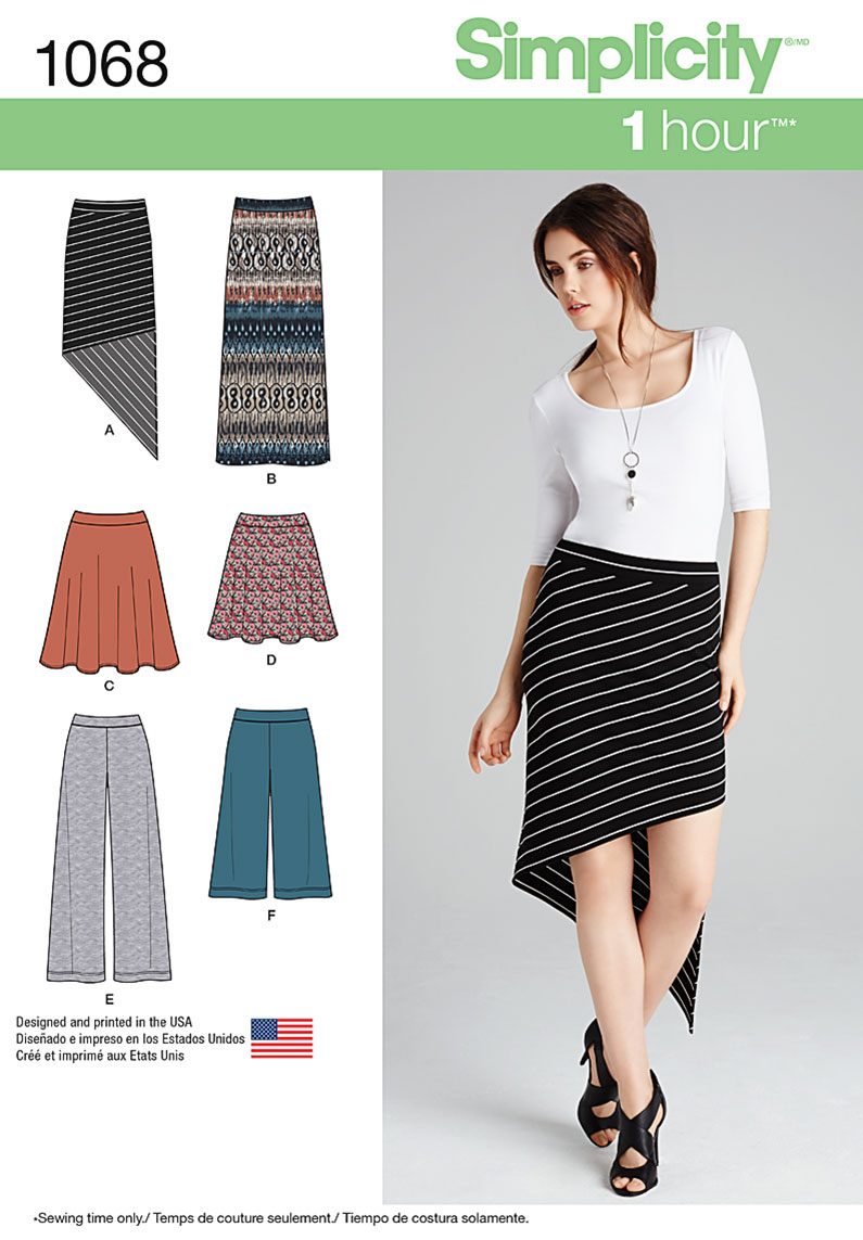 Simplicity 1068 Misses\' Knit Skirts and Pants