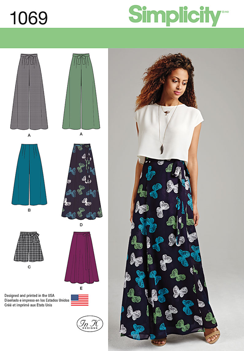 simplicity 1069 misses wide leg pants or shorts amp skirts