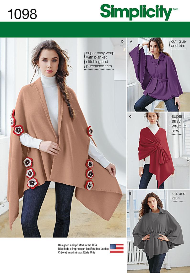 0e042c632 Simplicity 1098 Misses' Fleece Ponchos and Wraps