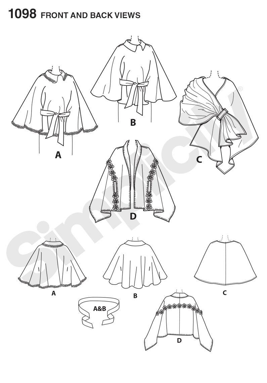 Simplicity 1098 Misses' Fleece Ponchos and Wraps