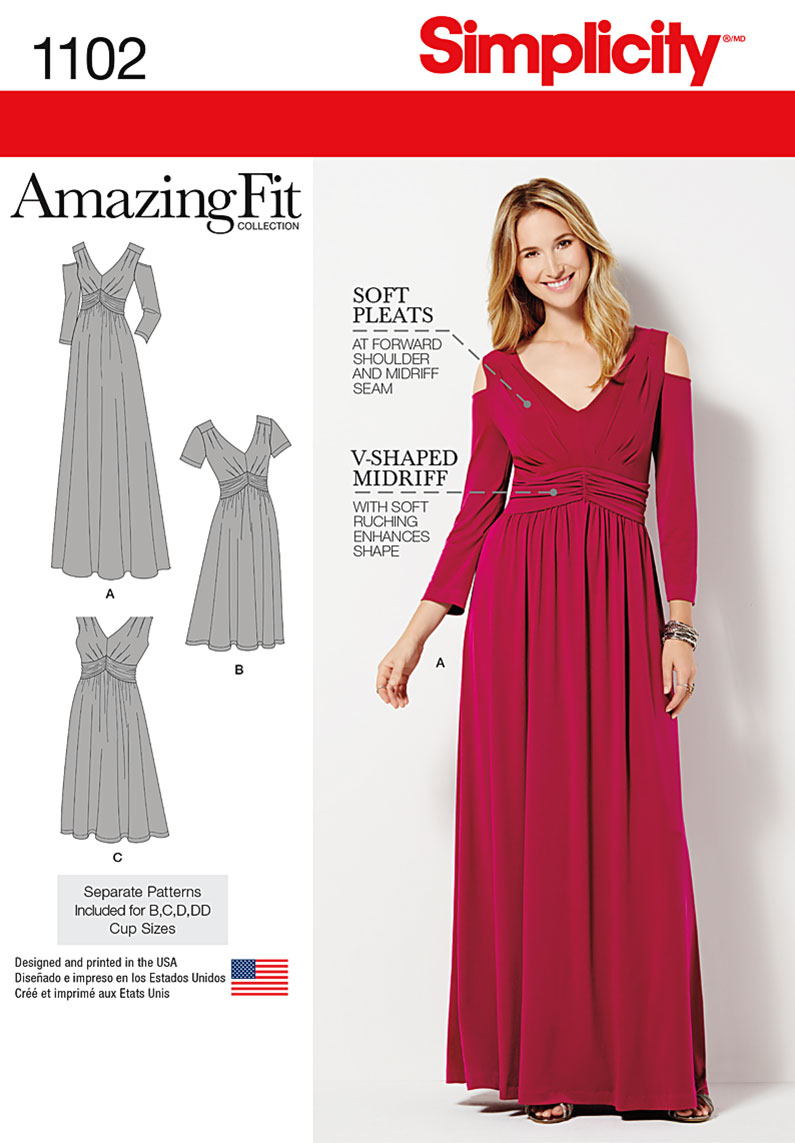 Simplicity 1102 Misses & Plus Size Amazing Fit Dress in Knit