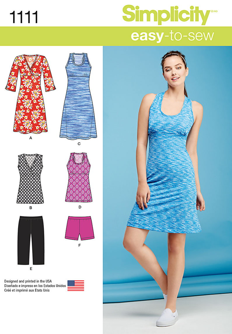 Simplicity 1111 Misses\' Easy Knit Sport Dresses, Tunics and Shorts