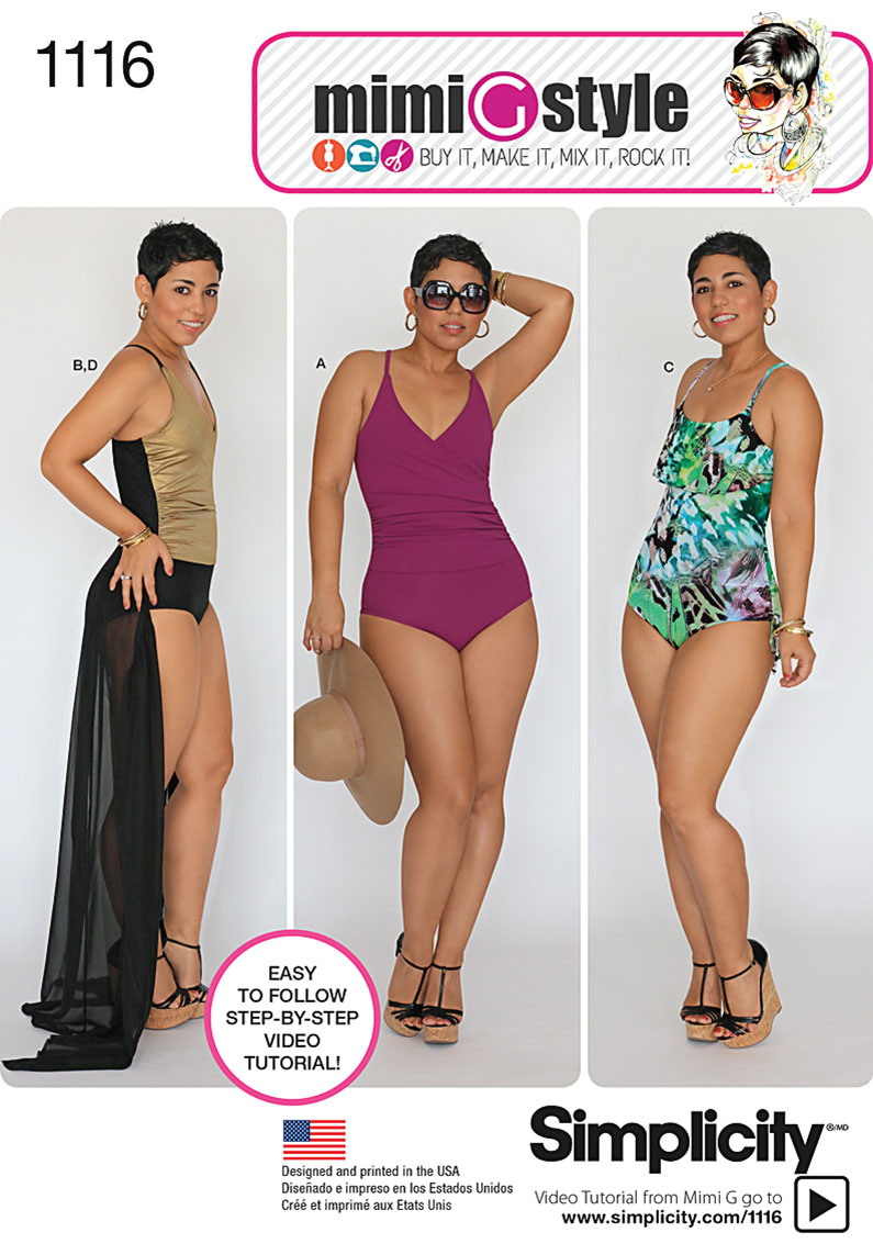 Simplicity 1116 Misses\' and Plus Size Swimsuits and wrap skirt