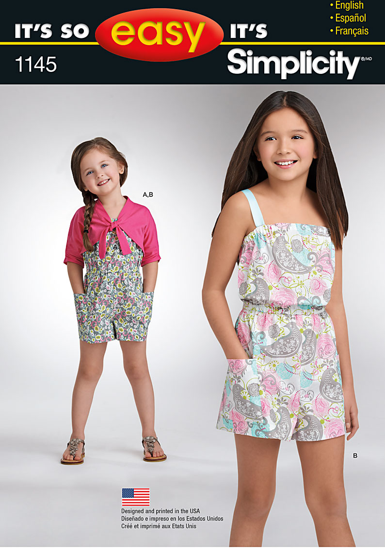 Simplicity 1145 its so easy childs and girls romper cardigan prevnext jeuxipadfo Images