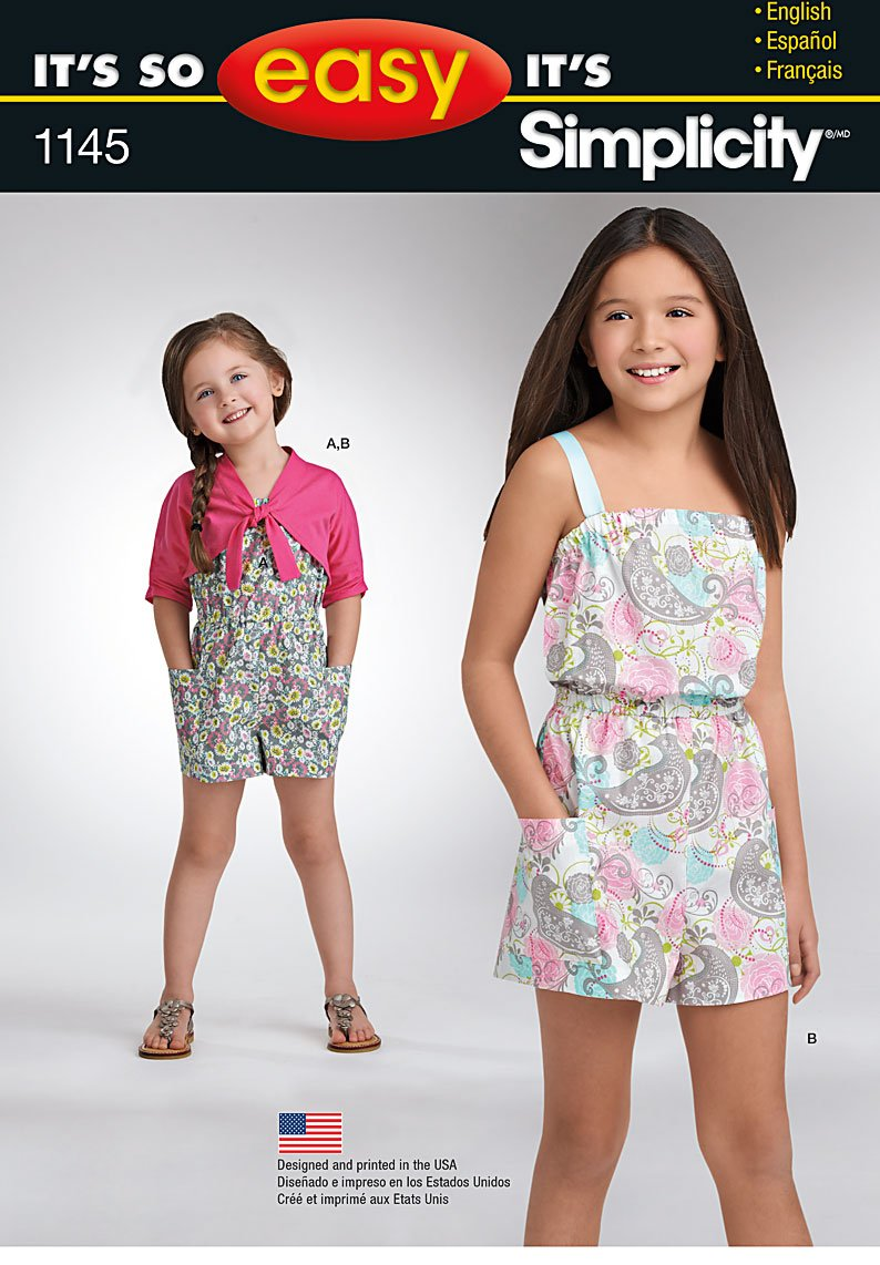 Simplicity 1145 It's So Easy Child's and Girls' Romper & Cardigan