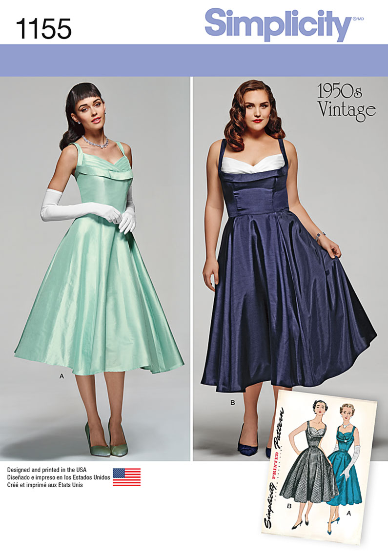 Simplicity 1155 Miss and Miss Plus Vintage Dress