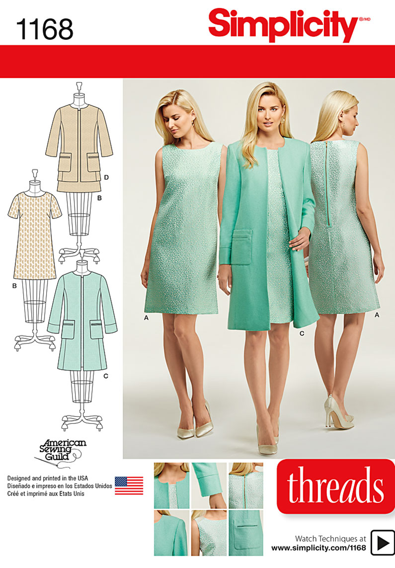 Simplicity 1168 Misses Dresses and Coat or Jacket