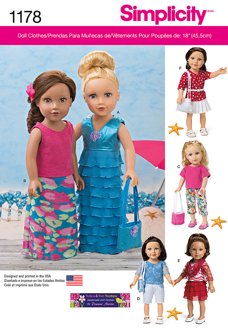 Simplicity 1178 modern clothes for 18 doll prevnext jeuxipadfo Image collections