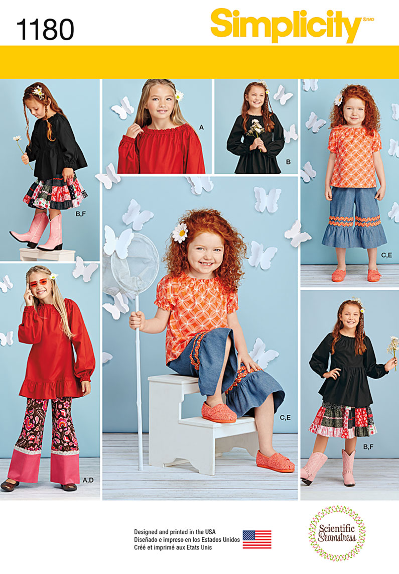 Simplicity 1180 childs and girls tops pants in two lengths and prevnext jeuxipadfo Images