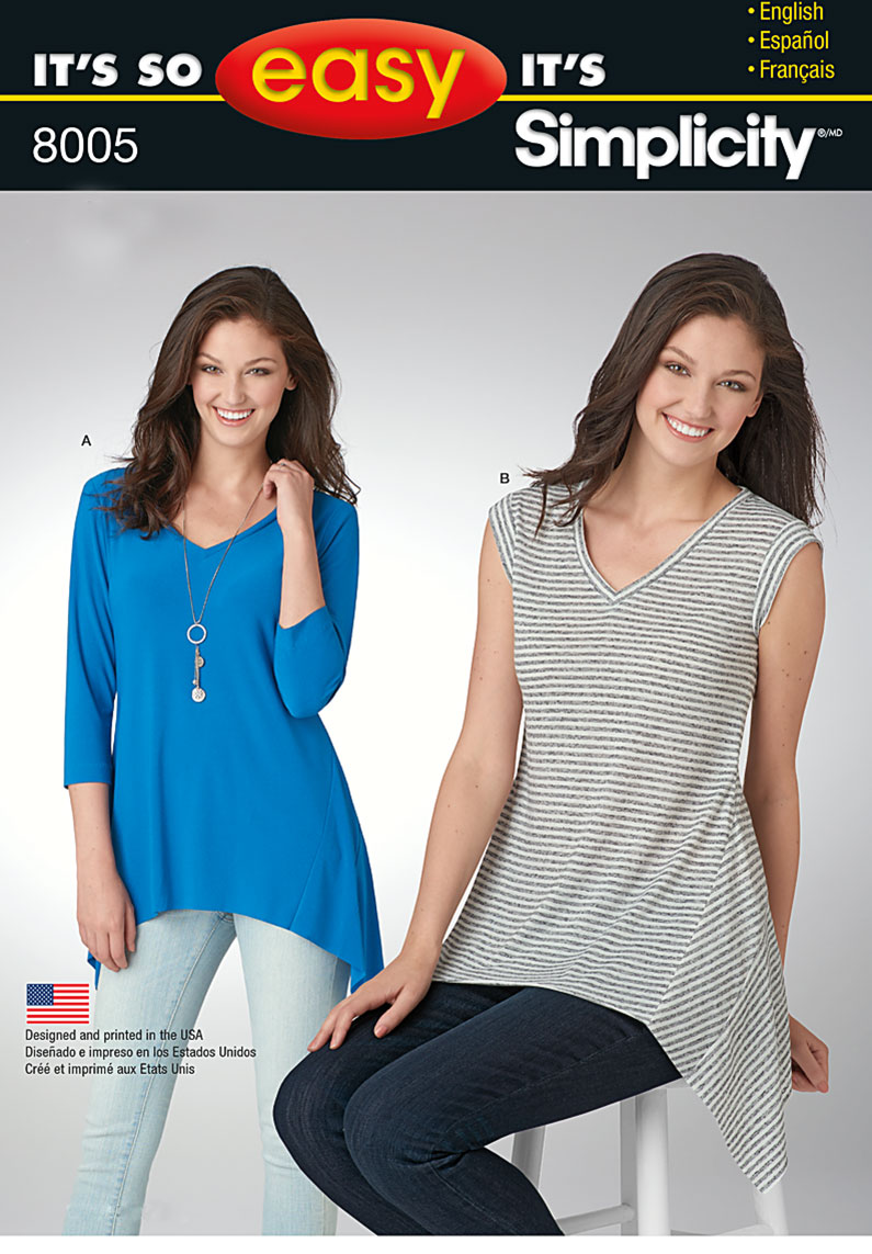 Simplicity 8005 Misses\' It\'s So Easy Knit Tops