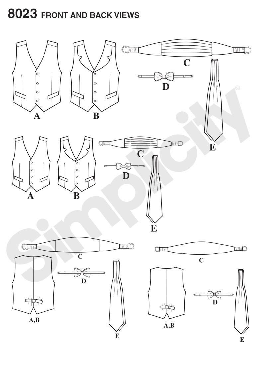 Simplicity 8023 boys and mens vest bow tie cummerbund and ascot prevnext jeuxipadfo Images