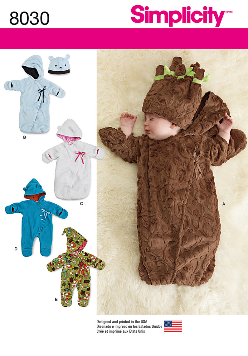Simplicity 8030 Fleece Baby Buntings and Hats