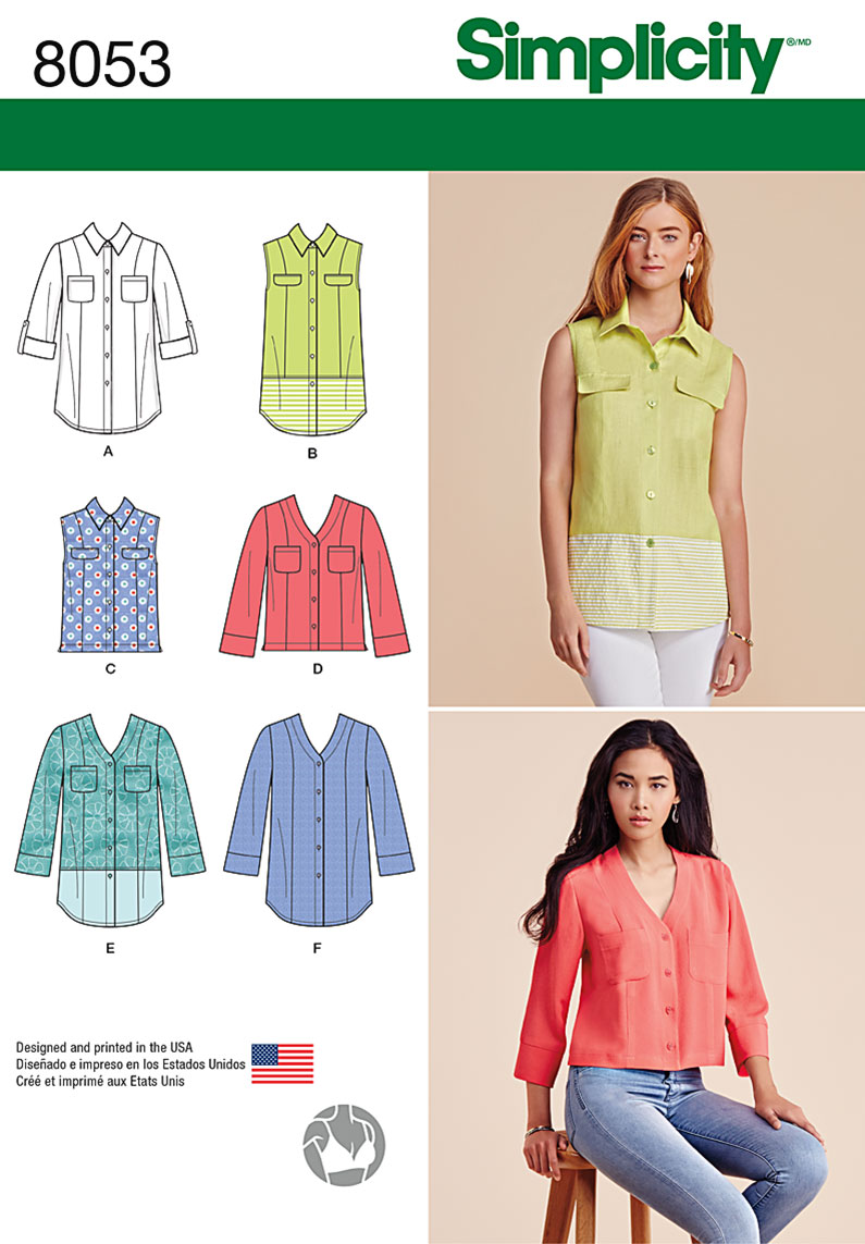 Simplicity 8053 Misses Button Front Shirt In Various Styles