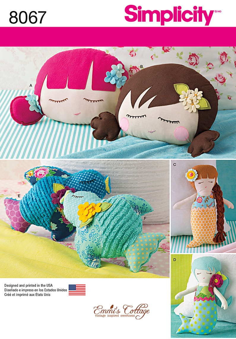 Simplicity 8067 stuffed doll face pillows mermaids and birds prevnext jeuxipadfo Image collections
