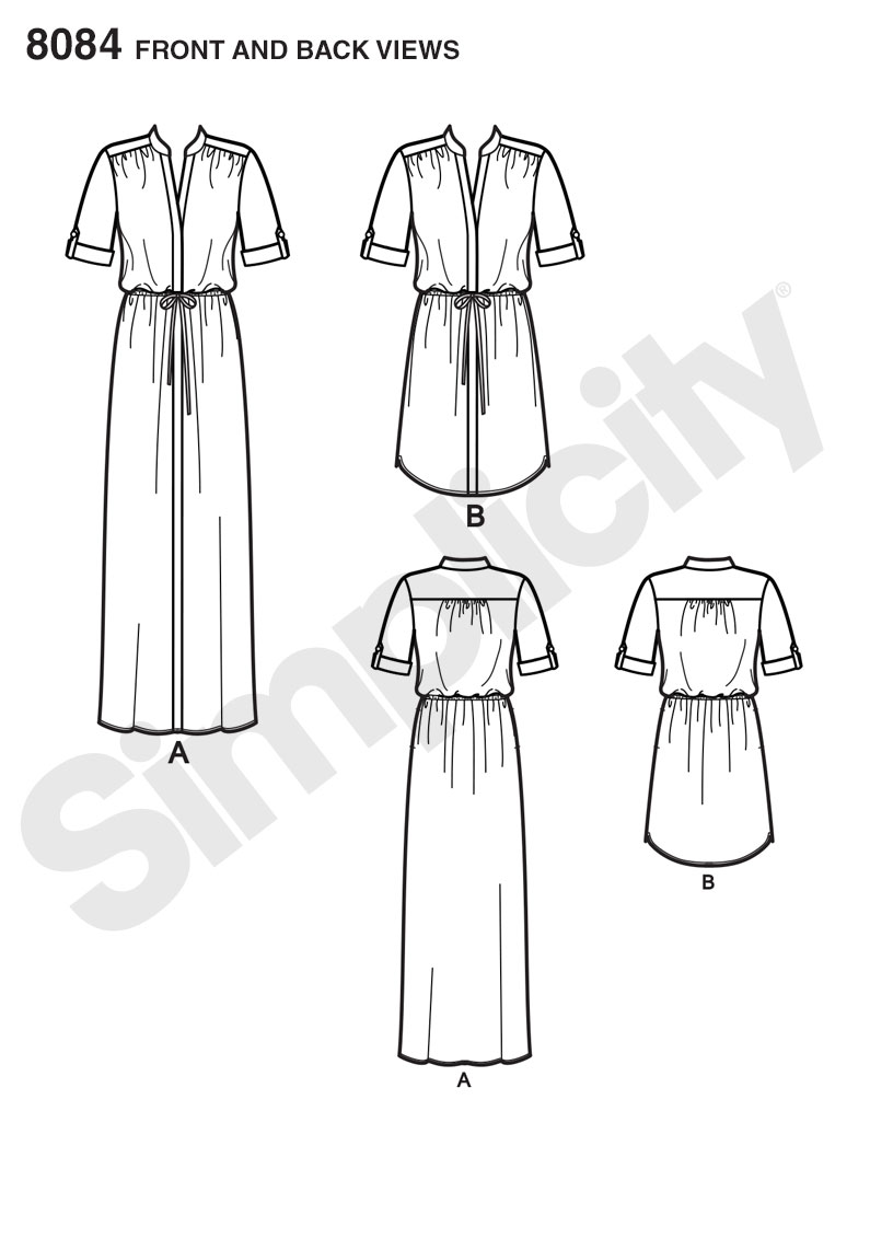 Simplicity Sewing Pattern 8084 Misses and Miss Plus Shirt Dress in Two Lengths